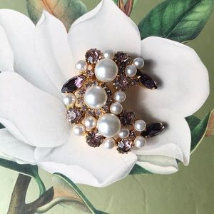 Crescent Pearl Brooch